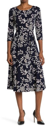 Nina Leonard Floral Scoop Neck Midi Dress