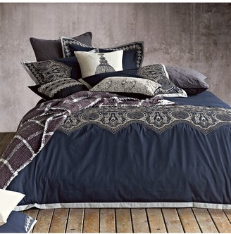 Melange Home Full/Queen Arabesque Embroidered Duvet 3-Piece Set - Navy