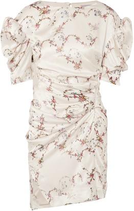 Preen by Thornton Bregazzi Greta Ruched Floral-print Satin-twill Mini Dress