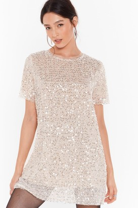 Nasty Gal Womens You Can't Sequin Them All Tee Dress - Beige - S