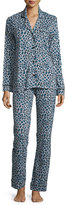 Cosabella Bella Long Sleeve Print Pajama Set, Dove Grey/Black