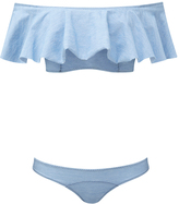 Lisa Marie Fernandez Mira Ruffled Denim Bandeau Bikini Set