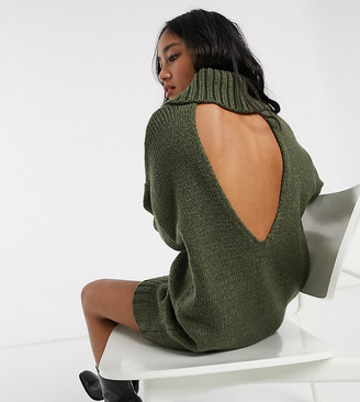 Asos DESIGN Petite chunky mini dress with roll neck with open back