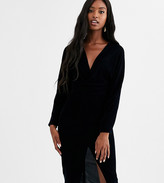 Asos Tall DESIGN Tall midi dress with batwing sleeve and wrap waist in velvet