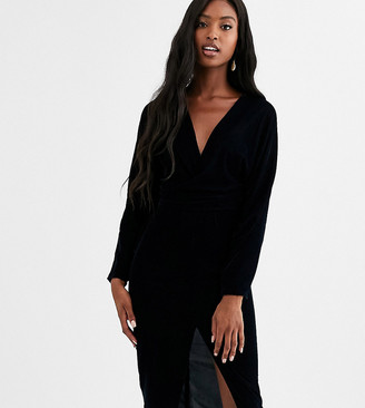 Asos Tall DESIGN Tall midi dress with batwing sleeve and wrap waist in velvet-Black