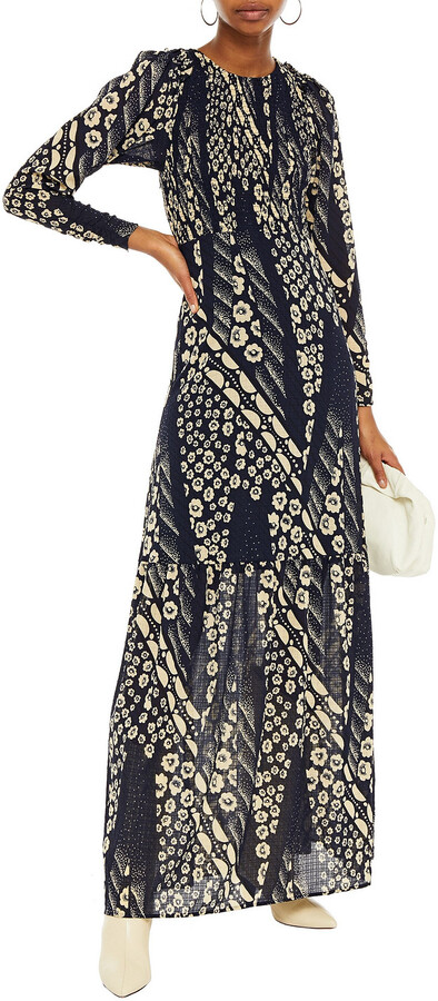 Thumbnail for your product : BA&SH Ollie Ruffle-trimmed Floral-print Crepe Maxi Dress