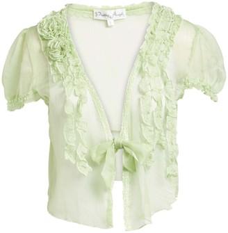 Pretty Angel Women's Blouses GREEEN(GN) - Green Sheer Linen-Blend Bolero - Women