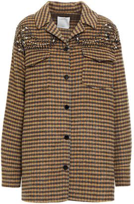 Sandro Brodan Embellished Checked Wool-blend Felt Coat