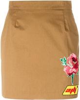 Au Jour Le Jour patch detail mini-skirt - women - Cotton/Spandex/Elastane/Viscose/PVC - 38