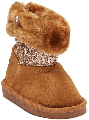 Bebe Glitter Panel Faux Fur Lined Winter Boot