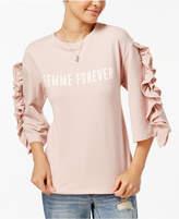 Polly & Esther Juniors' Ruffle-Sleeve Graphic Sweatshirt