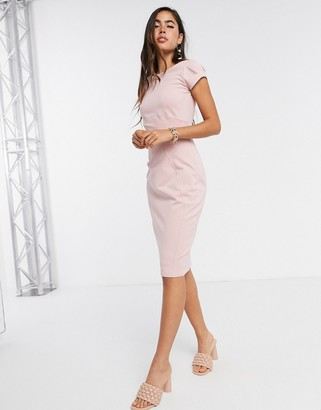 Closet London cap sleeve pencil dress in dusty rose