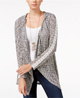 American Rag Crochet-Trim Hooded Waterfall Cardigan, Only at Macy's