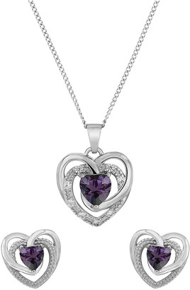 Sterling Silver Lavender Cubic ZirconiaHeart Pendant and Earring Set
