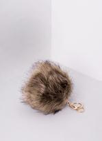 Missy Empire Sabine Beige Faux Fur Pom Pom Key Ring