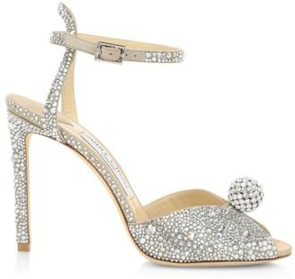 Jimmy Choo Sacora Peep-Toe Crystal-Embellished Leather Sandals