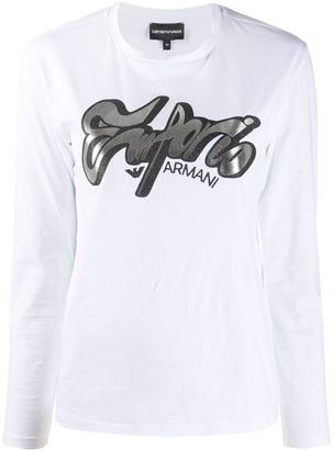 Emporio Armani Logo Print Long-Sleeved Top