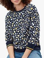 Joules Presley Leopard Print Slim Sweatshirt, Navy Leopard