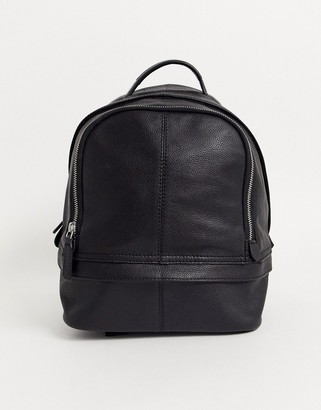 Asos DESIGN mini harvard backpack in black leather