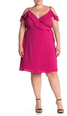 City Chic Lu Lu Cold Shoulder Wrap Dress (Plus Size)