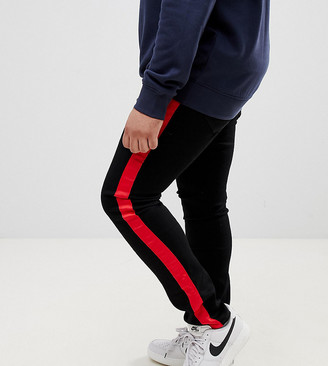 Sixth June super skinny jeans in black with red side stripe exclusive to ASOS