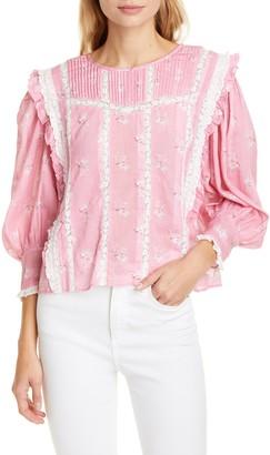 LoveShackFancy Taz Reversible Floral Lace Inset Cotton & Silk Blouse