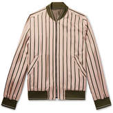 Solid Homme Striped Satin Bomber Jacket