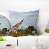 "Landscape Large Giraffe in Savannah Pillow East Urban Home Size: 16"" x 16"", Product Type: Throw Pillow"