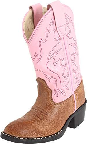 f0d5c5708d1 Girls Leather Cowboy Boots in Pink & Brown 11 M US Little Kid