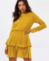 Missguided Chiffon High Neck Long Sleeve Mini Dress
