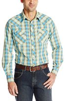 Wrangler Men's Fashion Snap Long Sleeve White/Blue/Green/Brown Shirt