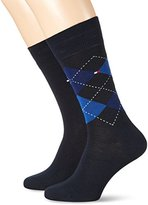 Tommy Hilfiger Men's TH Check 2P Calf Socks,6/8 pack of 2