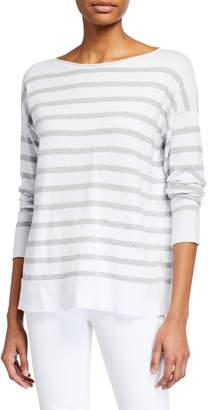 Eileen Fisher Striped Organic Cotton Tunic Sweater