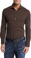 Neiman Marcus Jersey Knit Sport Shirt, Chestnut