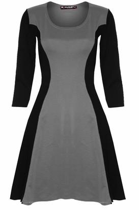 Be Jealous Womens Slimming 3/4 Sleeve Flared Skater Dress Mint Plus Size (UK 16/18)