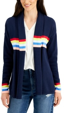 Style&Co. Style & Co Petite Cotton Striped-Detail Open-Front Cardigan, Created for Macy's