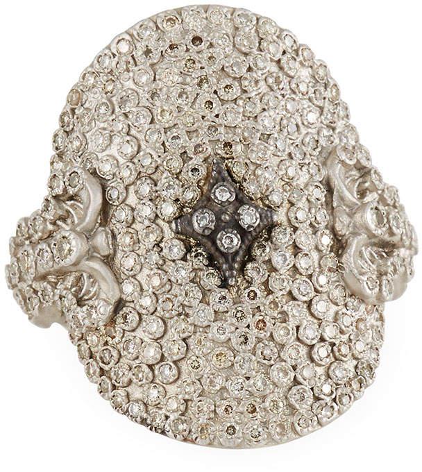 Armenta New World Large Pave Diamond Oval Ring, Size 6.5