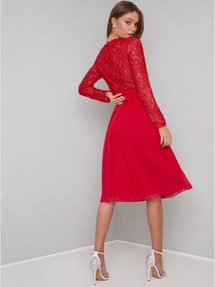 Chi Chi London Naarah Lace Top Midi Dress - Red