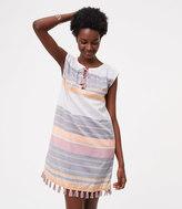 LOFT Beach Striped Tassel Dress