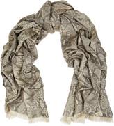 Diane von Furstenberg Snake-effect metallic cotton-blend brocade scarf