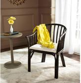 Safavieh Gino Rattan Arm Chair in Black with White Cushion