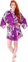 Simplicity Women's Peacock & Blossoms Printed Silk Satin Kimono Robe Bridal Sleepwear