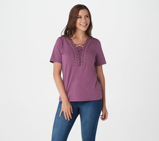 Denim & Co. Textured Knit Short-Sleeve Top with Lace Trim