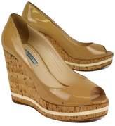 Prada Nude Cork Wedge PeepToe Heels