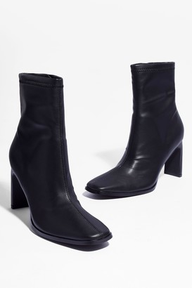 Nasty Gal Womens Square's Something About You Faux Leather Boots - Black - 3
