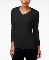 Karen Scott Luxsoft V-Neck Sweater, Only at Macy's
