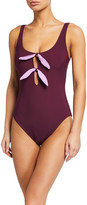 Kate Spade reversible keyhole front one-piece swimsuit