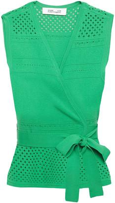 Diane von Furstenberg Ivy Pointelle-knit Wrap Top
