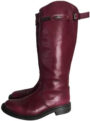 Moschino Burgundy Leather Boots