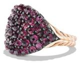 David Yurman Osetra Pinky Ring With Rhodalite Garnet And 18K Rose Gold